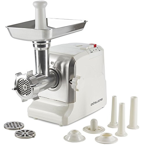 Andrew James Electric Meat Grinder and Mincer | 700W | Includes 3 Sausage Maker Attachments | 3 Stainless Steel Cutting Plates & Pushing Stick (White)