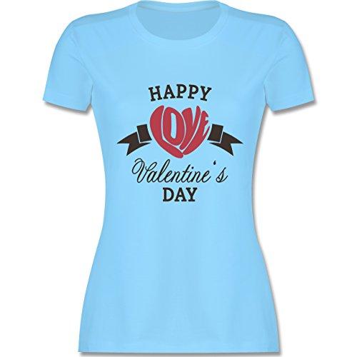 Valentinstag - Happy Valentine's Day Herz Love Typographie - tailliertes Premium T-Shirt mit Rundhalsausschnitt für Damen Hellblau