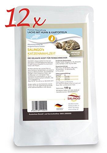 SALiNGO Katzenfutter nass, Lachs mit Huhn und Kartoffeln, getreidefrei (12x100g)