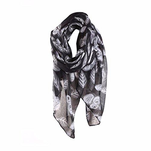 Schals Damen, ABsolute Mode Frauen Eulen Druck Muster Langer Schal Warme Verpackungs Schals (90cm*180cm, Schwarz)