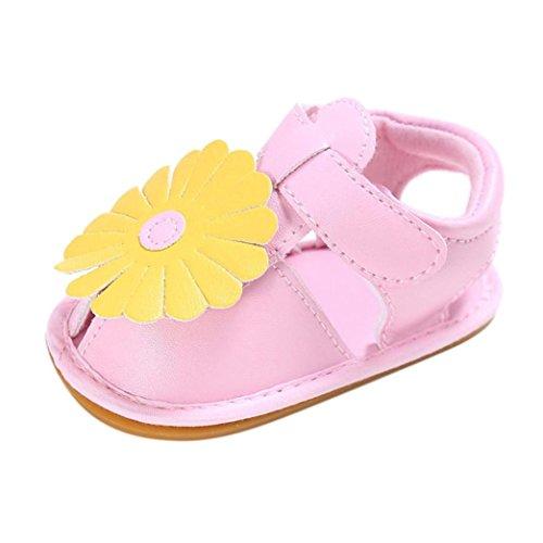 Koly_Scarpe Neonato Bambino Bambini Ragazze Fiori progettano Suola Infantile Delicatamente Scarpe Sandali (Size 11, Pink)