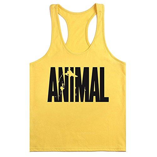 waylongplus Hombre Animal Carta Impresión Fitness Stringer Tank Tops para culturismo Entrenamiento Muscular, color multicolor - Yellow-Black, tamaño mediano