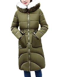 Piumini Donna Lunghi Addensare Caldo Cappotti Invernali con Cappuccio in  Pelliccia Slim Fit Elegante Outdoor Chic Giorno Tempo… 0e841c19dfb