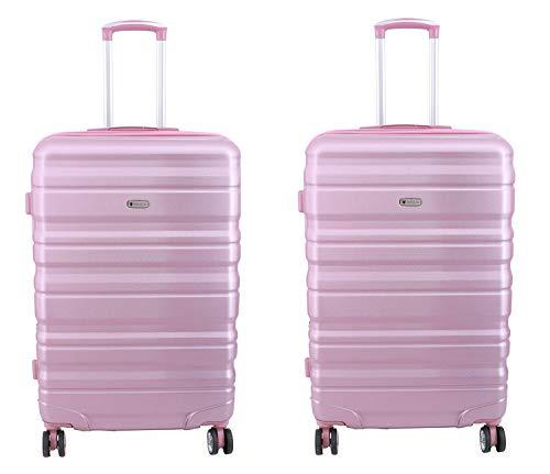 Lot de 2 valises cabines Extensible Worldline 55 x 35 x 21(25) cm ABS & Polycarbonate 4 roulettes Serrure TSA (Rose)