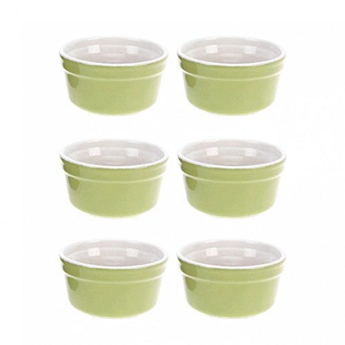 ToCi 6er-Set Auflaufschalen aus Keramik   Pastetenformen Ø 10 cm   Schälchen Füllmenge 165 ml   für Souffle, Muffin, Cupcake, Creme Brûlée und als Dipschalen   Förmchen Ofenbeständig Spülmaschinenfest in Grün