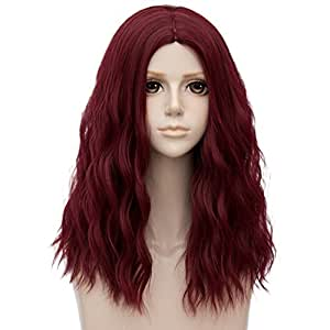 TOP-MAX Wine Red Medium 20 Inches Curly Heat Resistant Cosplay Wig Fashion Lolita Women's Party