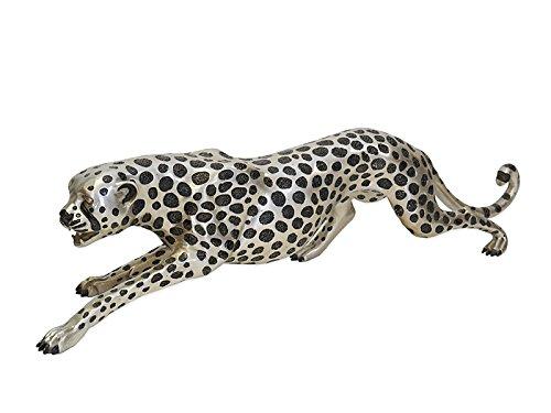 Antike Fundgrube Figur Skulptur Statue Gepard Cheetah Bronzeskulptur in Silber L: 110 cm (6633) (110 Cheetah)