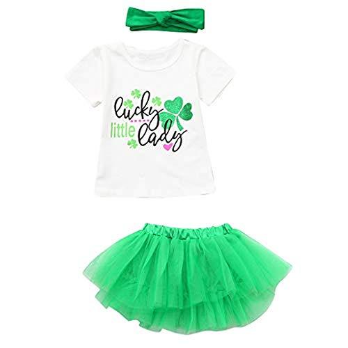 WUSIKY Rock Kleinkind Baby Mädchen Kurzarm St. Patrick's Tops Tops + Röcke + Stirnbänder Outfits 2019 Kleidung (Grün, 120) (Patrick Piraten Kostüm)