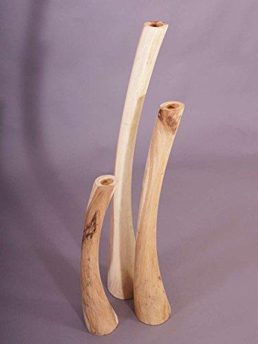 Teakholz-Teelichthalter 3er Set, natur Teak Holz Kerzenständer Kerzenhalter -