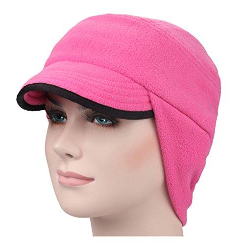 ECYC Winter-Ohr-flache Kappen warme Samt windundurchlässige emporgeragte Baseball-Mütze, Rose