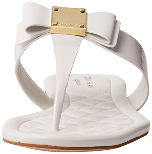 Cole Haan Tali Bow Flat Sandal Optic White Patent