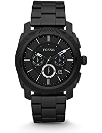 Fossil Edelstahl Uhr für Männer Machine - mit schwarzem Ziffernblatt, weißen Indizes & blauen Zeigern / Chronograph mit Datumsanzeige - im zeitlosen Industrial-Look