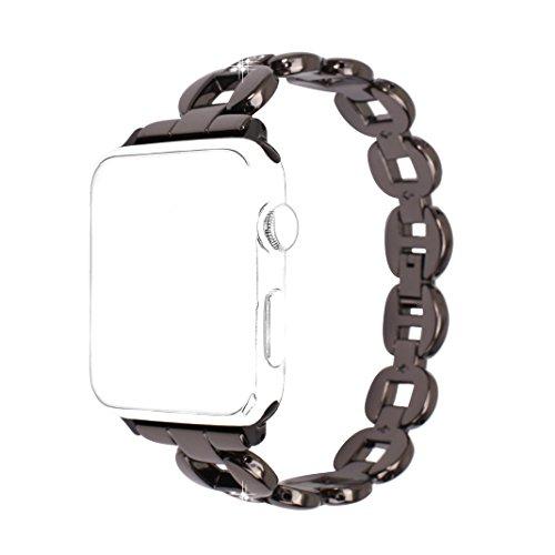 Apple Watch Bracelet 38mm,Bracelet iWatch 38mm Noir Rosa Schleife®Femme Bracelet Montre Apple Watch Bande de Remplacement en Acier Smartwatch Sport Band pour Apple watch Series 3/2/1