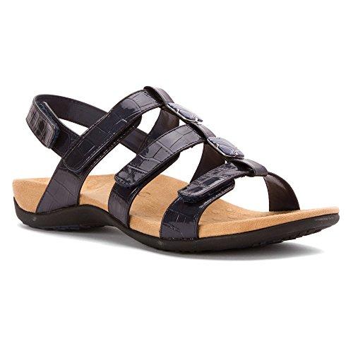 Vionic Amber - Womens Slide Sandal - Orthaheel Navy - 10 Wide Navy