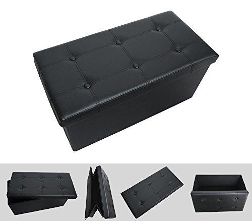 Faltbarer Sitzhocker Sitzwürfel ? schwarz 76 x 38 x 38 cm ? komfortabler und eleganter Hocker aus Kunstleder