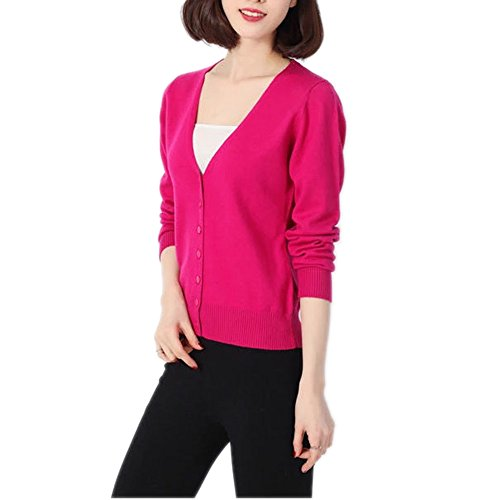 HIDOUYAL Damen Strickjacke Crop (Rosa, S) (Rosa Wolle Strickjacke)