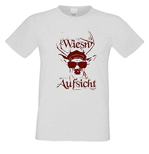 Wiesn - Aufsicht : Lustiges Fun T-Shirt für Herren Männer Volksfest Trachtenshirt Maidult Oktoberfest auch in Übergrößen bis 5XL Farbe: grau Grau