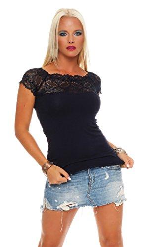 Mississhop Damen Spitzenshirt Spitze Spitzen T-Shirt Bluse Shirt Langarmshirt Kurzarmshirt, Dunkelblau/Kurzarm, Einheitsgröße