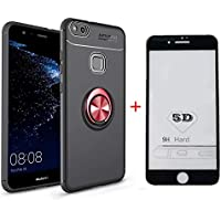 SHYHONG Kompatibel Huawei P10 Lite Hülle+5D gehärtetem Glas Soft Silikon TPU Handyhülle mit 360°drehbarer Fingerhalter und Magnetic Metall Blech Anti-Shock Bumper Cover(Rot+Schwarz)