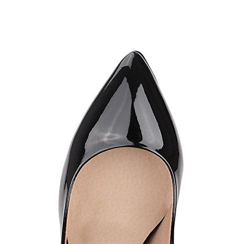 VogueZone009 Femme Tire à Talon Haut Pu Cuir Couleur Unie Pointu Chaussures Légeres Noir