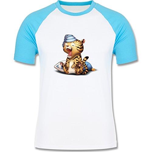 Wildnis - Gähnender Leopard - zweifarbiges Baseballshirt für Männer Weiß/Türkis