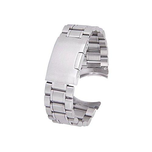 TOOGOO(R) Cinturino orologio Argento solido acciaio inossidabile lega...