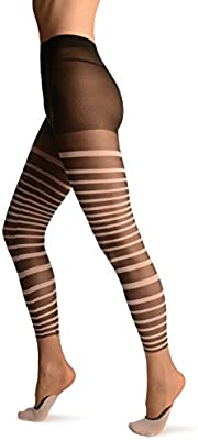 Black & White Stripes With Faux Footsies Socks & Little Bow - Tights - Negro Medias Talla unica (34-40)