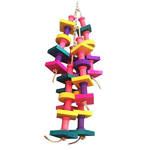 Juguete de madera para aves, papagayos; accesorio para jaula, pajarera; juguete con piezas colgantes...