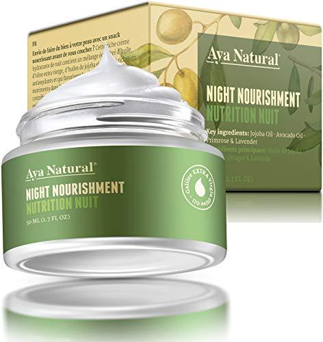 Naturkosmetik Gesichtscreme Vegan Nachtcreme Face Moisturizer - Gesicht Feuchtigkeitscreme Anti Aging Gesichtspflege Faltencreme für trockene Haut -