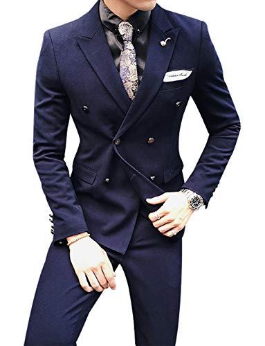 YZHEN Herren 2 Stück Zweireiher Anzug Bräutigam Slim Fit Formale Smoking