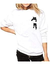NINGSANJIN Frauen Plus Size Solide Langarm Kapuzenpullover O-Neck Cat Print Lose Bluse Tops