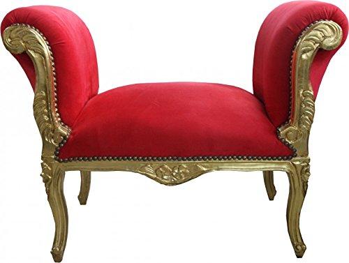 Casa Padrino Barock Schemel Hocker Rot/Gold - Sitzbank