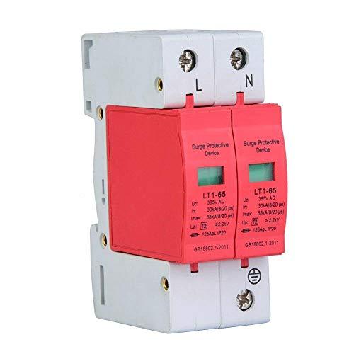 Haus Überspannungsschutz, 385 V Überspannungsschutz Telefon Lightning Tele Protector Niederspannungsschutz für alle Haushalts- und Bürozwecke, 40KA/65KA/80KA Nennstrom (2P 65KA)