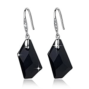 Sparkling_Crystal Swarovski Elements Nero Jet cristallo 925 orecchini in argento con cristallo austriaco per le donne