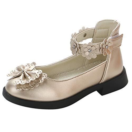 owknot Prinzessin Einzel Schuhe Sandalen Kinder Baby Blumen Süß Mode Kinderschuhe Sommer Elegant Party Kleid Schuhe Klettverschluss Flache Schuhe Lederschuhe ()