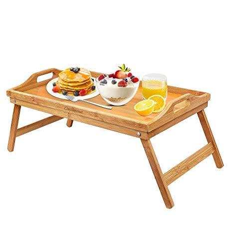 Cozihoma Frühstücksbrettchen Bambus Betttablett Tisch mit klappbaren Beinen Tragbares Laptoptablett Snacktablett für Essen Servieren Bett Lesen TV Schauen mit Tragegriffen -