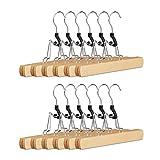 Relaxdays Hosenspanner Holz, 12er Set Kleiderbügel, 360° drehbarer Haken, Klemmbügel für Hosen, HBT: 17x25x2,3 cm, natur