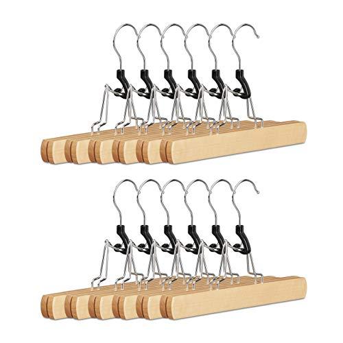Relaxdays Cintre pince à pantalons en bois lot de 12 pince pour jupe pantalon feutre HxlxP: 17 x 25 x 2,3 cm, nature