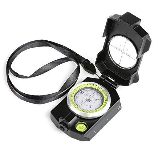 GWHOLE Bussola Multifunzione Militare Compasso con Inclinometro e Termometro, Bussola Con Tasca per Campeggio e Escursione, Istruzione Per Utenti In Inglese Inclusa