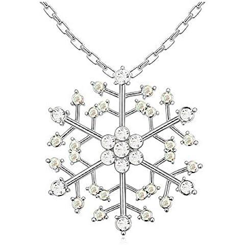 Ciondolo Fiocco di Neve Cristallo Swarovski Elements Bianco e Aurora Borealis - Blue Pearls - PDC B894 W