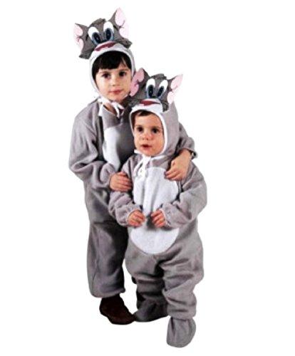 Größe 104-2 - 3 Jahre - Kostüm - Verkleidung - Karneval - Halloween - Katze - Grau - Unisex - Kinder - Tom und ()
