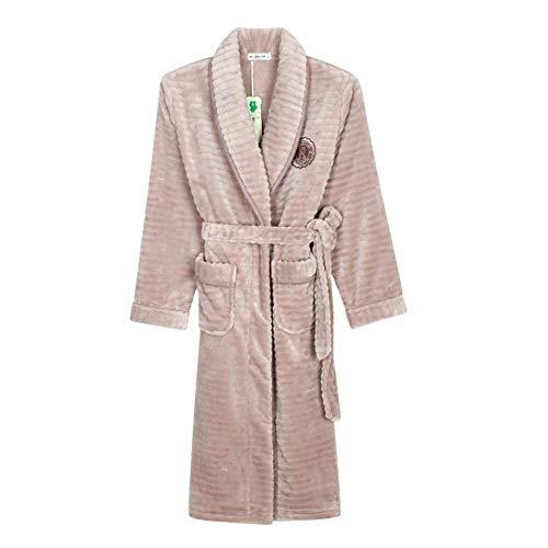 Ms Dicken Flanell Herbst Nachthemd Im Elegant Und Winter Yukata Bademantel Heimservice Coral Pyjama Bademantel Bademantel Anzug (Color : A, Size : ()