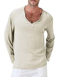 Sommer Herren T-Shirt Goosuny Hippie Baumwolle Leinen Hemd Casual  Longsleeve V-Ausschnitt… 2bd59b1b20
