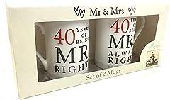 Idea Regalo - 40° Anniversario Regalo Set di 2 Cina Tazze 'Mr Destro & Mrs Always destro'