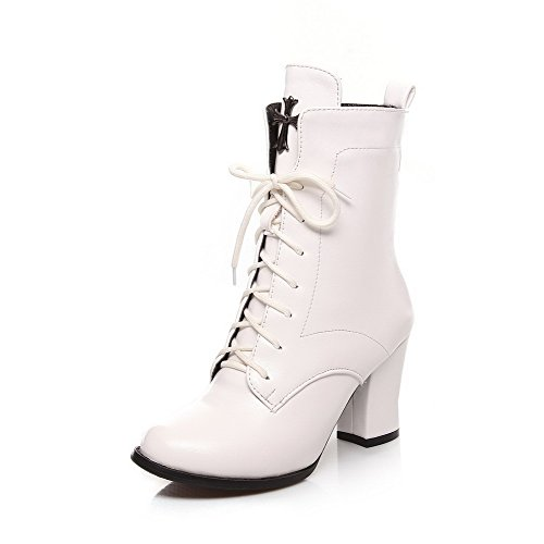 voguezone009-womens-lace-up-high-heels-pu-solid-low-top-boots-white-41