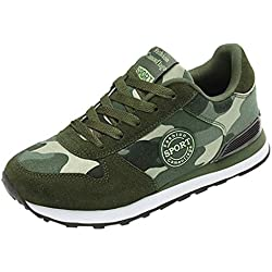 iZZB Chaussures Camouflage Femme Couple Chaussures Sneakers Confortable Dames Baskets Fitness Filles Chaussures de Sport 2019 (Vert, 40 EU)