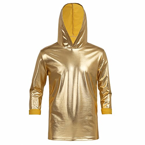 d956897d41d1af TiaoBug Mens Shiny Metallic Long Sleeves Hoodies T-Shirt Tops Hooded  Pullover Sweatshirt Clubwear Gold