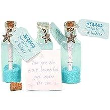 Par de mensajes de sirena en una botella de cristal con colgante de estrella, purpurina
