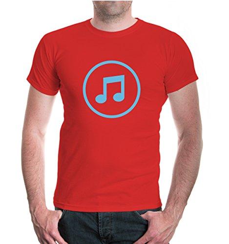 buXsbaum® T-Shirt Musik-Piktogramm Red-Skyblue