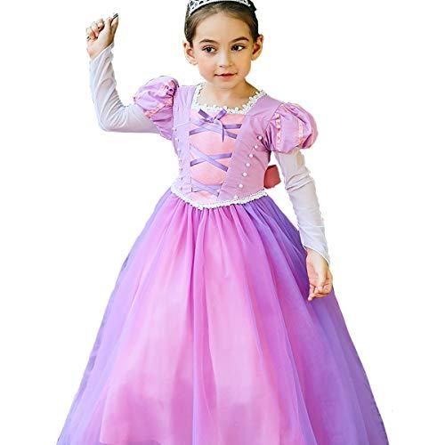 Für Mädchen Kleine Kostüm - Kleine Mädchen Prinzessin Rapunzel Kostüm Lange Ärmel Kleid Cosplay Halloween Geburtstag Party Kleid Kostüm (120cm)